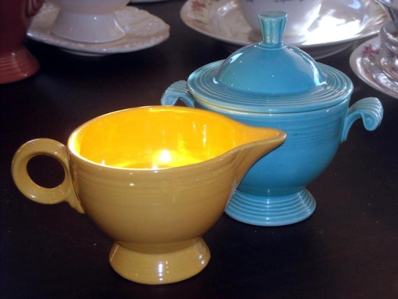 Vintage Fiestaware Yellow and Turquoise Creamer and Sugar