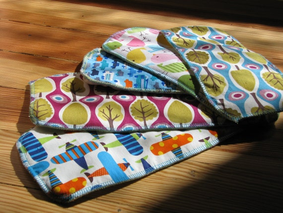 Set of Six (6) Organic Bamboo Cloth Diaper Inserts: Size Large (works with gDiaper and many others)