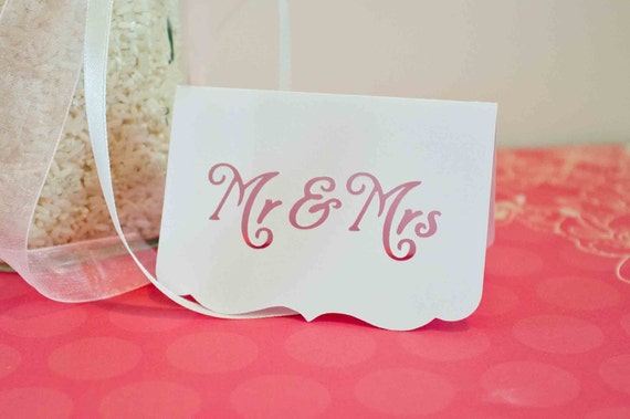 White Place Cards - Mr & Mrs - Wedding Place Cards