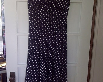 Retro Navy Blue Polka Dot Jersey Dress by Lauren - Size Ten (US)