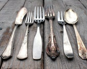 Vintage silver ware / shabby chic / serving / flatware / rustic / patina / ornate / plain / home decor / instant collection