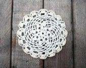 Twelve vintage crocheted doilies / tea time / white / cotton / hand crochet / cottage chic / demi tasse / rustic farm house decor / patina