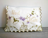 Vintage / Home Decor / Linens / pillowcase / Scandinavian / purple / chartreuse / natural white / cottage chic / farmhouse folk / embroidery