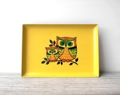 Vintage owl tray / retro kitchen / yellow / orange / green / folk owl / desk office decor / kitsch / Japanese