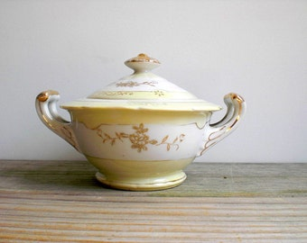 Vintage cottage chic bowl with lid / candy dish / romantic home decor / pale lemon yellow / white / gold details / country cottage style