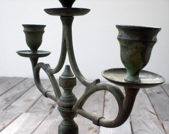Candle holder. Rustic Swedish country primitive. Verdigris patina. Heavy metal candelabra for three candles.