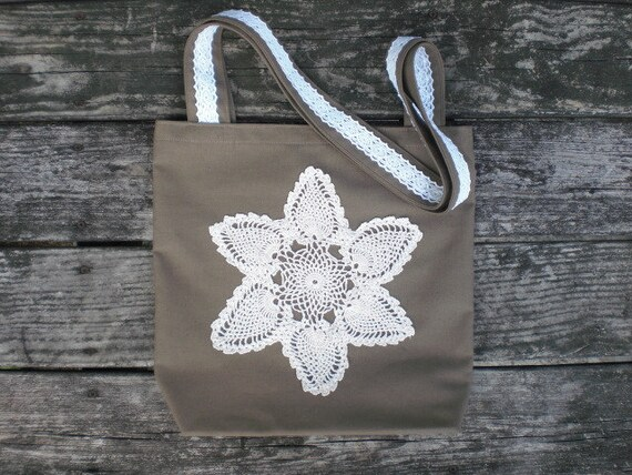 Hand made canvas cotton tote / cottage chic / rustic / retro / khaki brown / duck cloth / flower star vintage doily / for her / country
