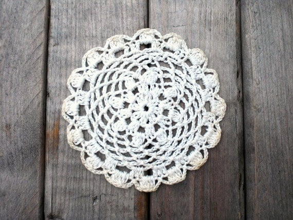 Twelve vintage crocheted doilies / tea time / white / cotton / hand crochet / cottage chic / demi tasse / rustic farm house decor / patina