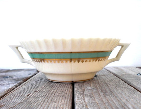 Vintage Lenox bowl / serving dish / gold / light teal green / hand painted gold trim / Art Deco style / soft white / candy dish / decor