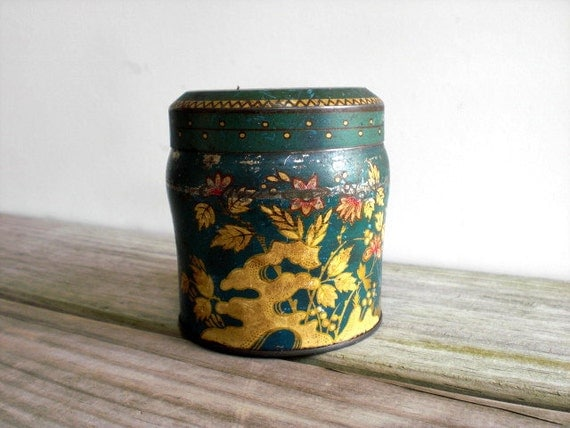 Vintage metal box / rustic tin / forest green / storage / up cycled gift box / kitchen decor / folk flowers / yellow / red / patina