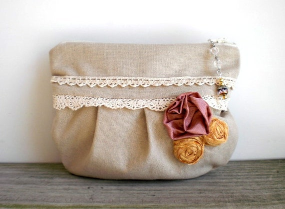 Handmade Victorian inspired cottage chic pouch / yellow pink roses / rustic purse / stone beige / vintage linen / vintage lace