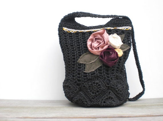 Bags and Purses / Hip Bag / rustic roses / upcycled black crocheted bag / shabby chic handmade roses on Etsy
