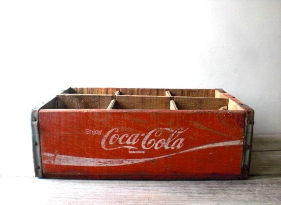 Vintage / Home Decor / Box / Coca Cola crate / wood / red / white / rustic / collectable / storage / display / industrial / country home