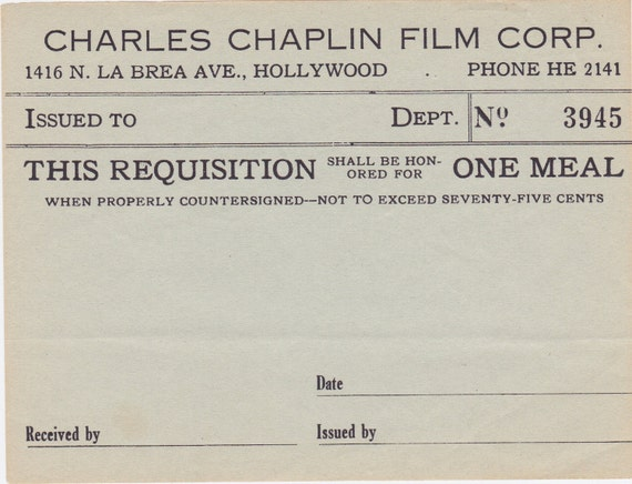 Meal Requisition from Charles Chaplin Film Corp. 1940's