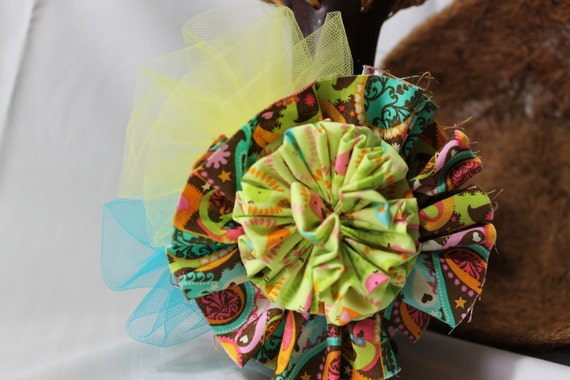 Fascinator Multicolored Romantic  Green and Brown  Ideal for Summer and Hot Days