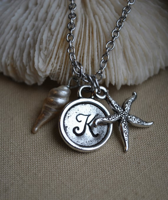 Sea Star Starfish - Simple Beach Personalized Initial Necklace in Silver Stainless Steel Bridesmaid Gift by rubiesandwhimsy