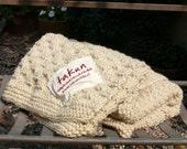 White Patagonia wool handmade blanket, 100% Natural