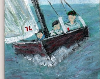 ORIGINAL Art Little boys and boat painting acrylic 3 1/2 x 5