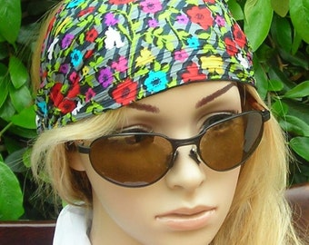 SALE  Women's wide hair band- Stretch Turban Headband -  urban turban head wrap headband black, gray,  flowers multi -color