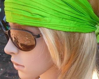 Women's wide hair band- Stretch Turban Headband -  urban turban head wrap headband green apple-Neon green