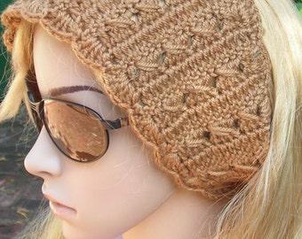 Crocheted neck warmer -ear warmer- headband - Headwrap - Adjustable-  3 black fur accent accesories