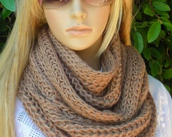 Hand Knitted infinity Scarf  - Bold Knit Scarf - - Multi functional- Taupe Brown - Line knit -