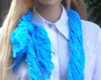 Wrinkled Shawl -Long Scarf - sarong wrap- lightweight cotton Scarf  - Polka dots- Bikini wrap- Neon blue