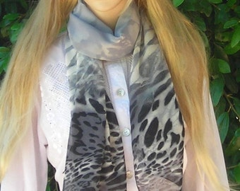 Mother's day Leopard  Long Scarf  lightweight Scarf  Scarf Silky Chiffon Leopard print  gray black  white