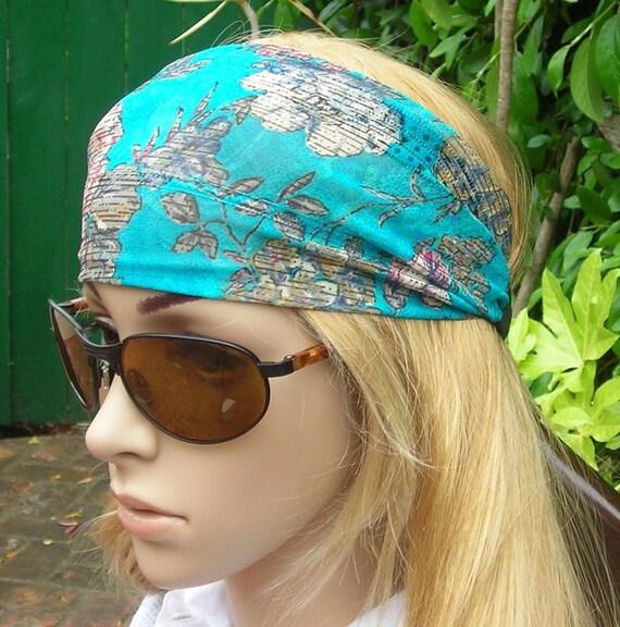 Women's wide hair band- Stretch Turban Headband -  urban turban head wrap headband turquoise multi -color