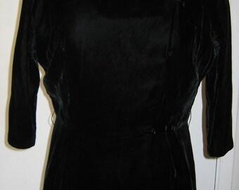 1950s Black Velvet Dress