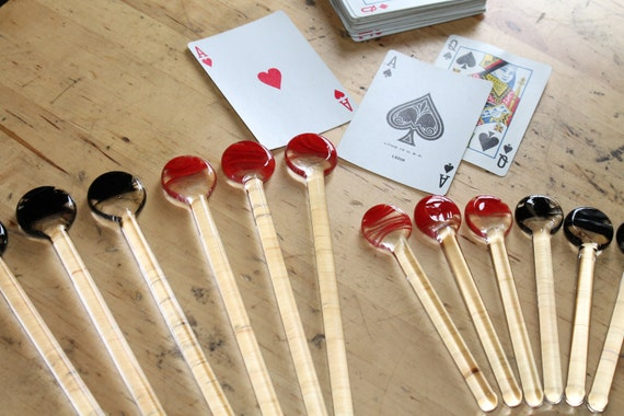 Poker Set 6 pc Made to Order Pyrex Glass High End Drink Stir Sticks ( Set of 6) Reserved for Smiley and Puppy
