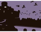 Flying Monkeys Art Print in Purple & Black 11x14