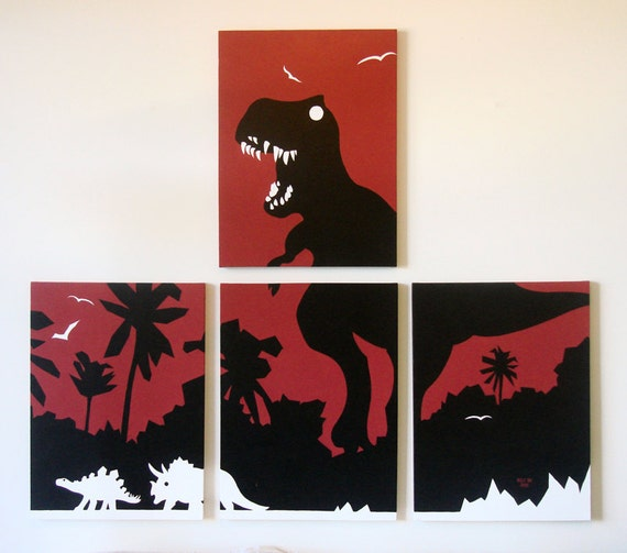 Items similar to dinosaur canvas print t rex painting for T rex bedroom decor