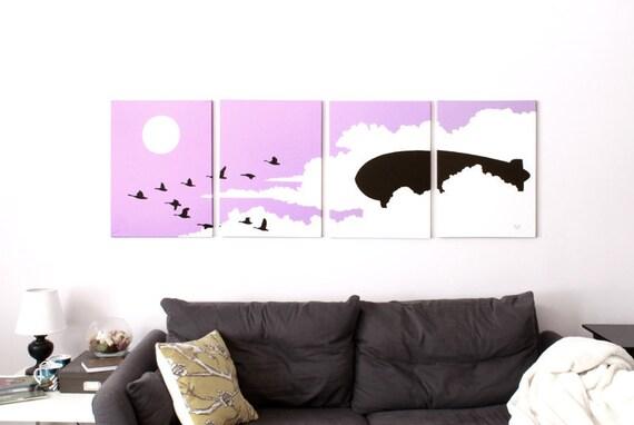 Bird Canvas Print - Nursery Print - Purple Pink Wall Art - Flying Geese Blimp - Cloud Print - Baby Girl - Nursery Print - Animal Art