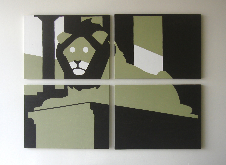 Man Cave Canvas Art : Lion canvas print green wall art man cave decor by
