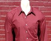80s Pierre Cardin Shirt Mens Vintage Couture Cardin Burgundy Wine Color Long Sleeve Dress Shirt - Size LARGE