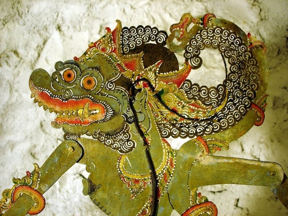"HOLD Early 1900s Shadow Puppet WANARA, Monkey Warrior, Vintage Handmade Indonesian ""Wayang Kulit"" from Central Java & STAND"