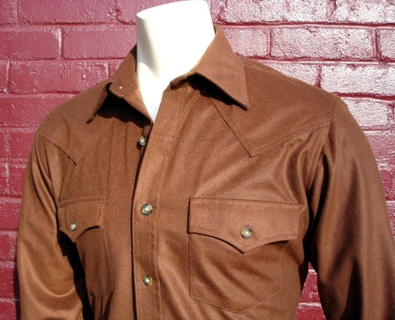 70s jcpenney western shirt mens dark brown western cut long for Mens shirts with snaps instead of buttons