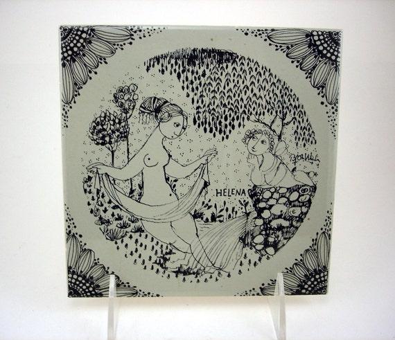 Hand Signed WIINBLAD Tile Autographed on back by BJORN WIINBLAD Pottery Tile / Trivet Helena Nymolle