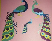 Reserved Listing for Jodi (languagejunkie). Peacocks Cut Paper.