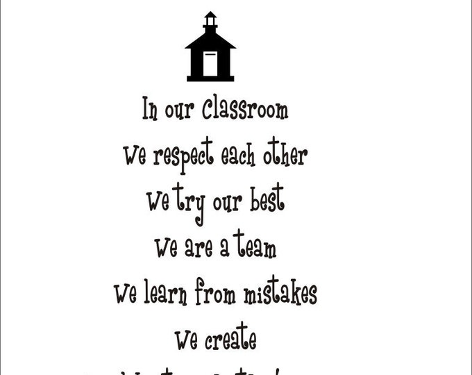 Classroom Rules Vinyl Decal Teacher Classroom Decal 22x22
