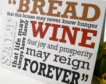 Housewarming Cards, Christmas Card, It's a Wonderful Life, Bread, Salt, Joy & Prosperity, Congratulations Card, Jimmy Stewart Quote, JS101