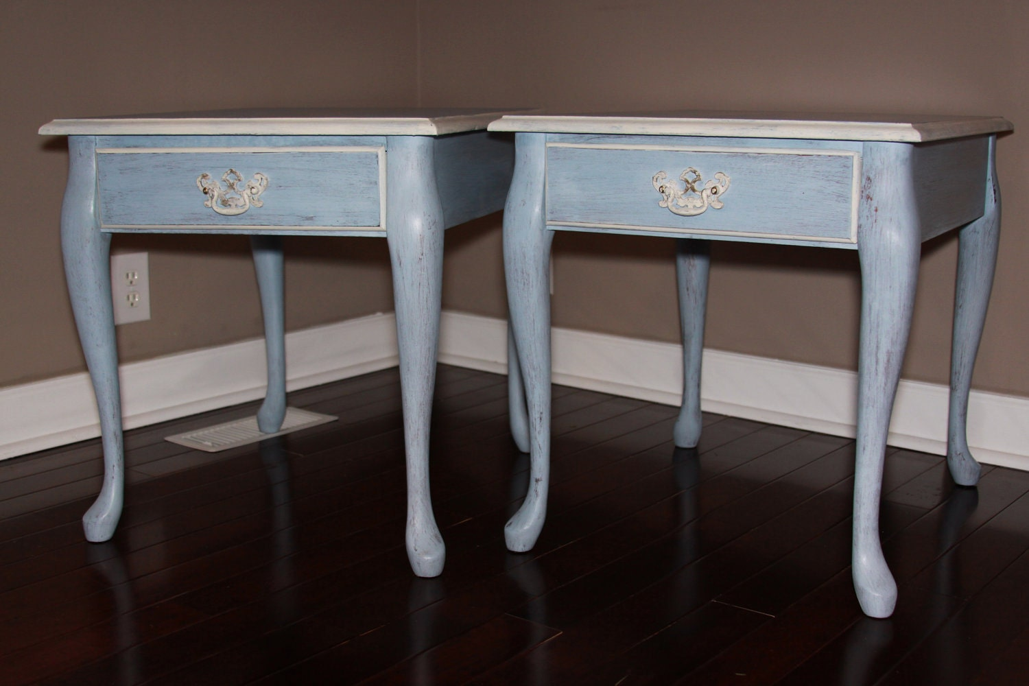 Blue Painted End Tables