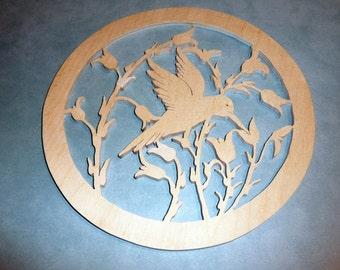 Scrollsaw Hummingbird circle wall hanging