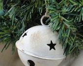Large Rustic White Washed Jingle Bells - 4 pk.