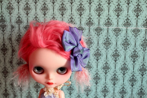 Sweet Sally Hair Bow - Violet Candy Silk Bow clip hair piece for your Blythe Princess