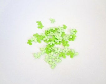 30 Mini Green Butterflies Padded Appliques Embellishment