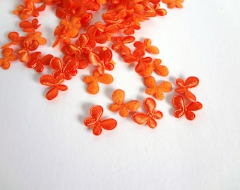 SALE 30 Mini Orange Butterflies  Padded Appliques Embellishment