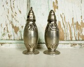 Vintage Salt and Pepper Shakers made in Japan, Mid Century, Silver
