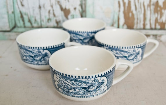 Vintage Currier and Ives cups by Royal China (set of 4)